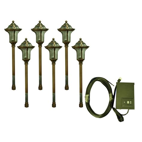 shop portfolio 6 light copper low voltage path light landscape light kit at lowes