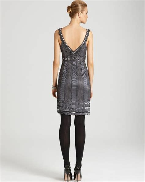 beaded tank dress sue wong beaded tank dress in gray charcoal lyst