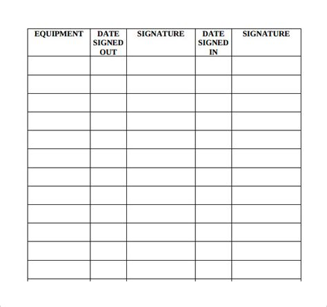 sample equipment sign out sheet 10 documents in pdf