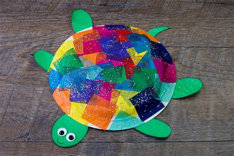 paper turtle craft tissue paper and paper plate turtle craft