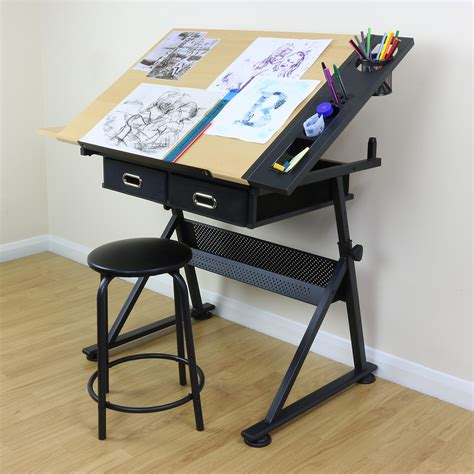 desk with drafting table adjustable drawing board drafting table with stool craft