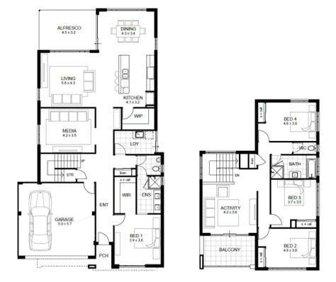 2 story house plans with 4 bedrooms four bedroom floor plan house floor plans