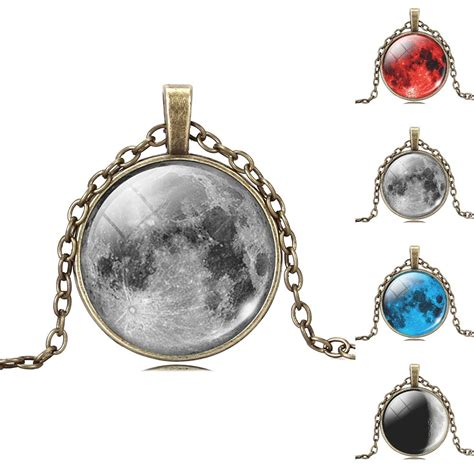 picture pendants jewelry fashion picture statement necklace vintage moon bronze