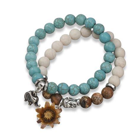blessing bead turquoise white bracelet with blessing flower