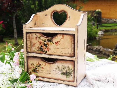 decoupage kitchen handmade commode cabinet box for spices tea bags
