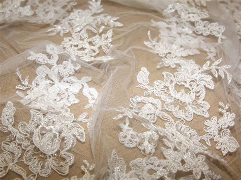 beaded lace fabric beaded border scalloped edge couture bridal lace