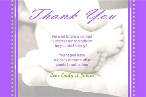 Message For Baby Shower Thank You Cards by Personalised Baby Shower Thank You Card Design 7