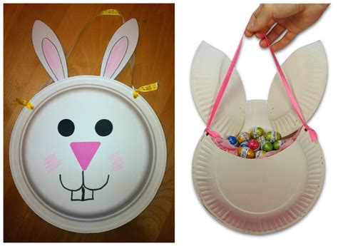 paper plate bunny craft best photos of paper basket craft make paper easter