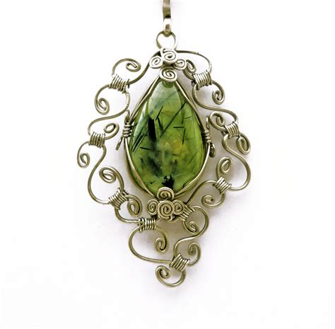 how to make jewelry with wire and stones wire wrap necklace with prehnite by hyppiechic on
