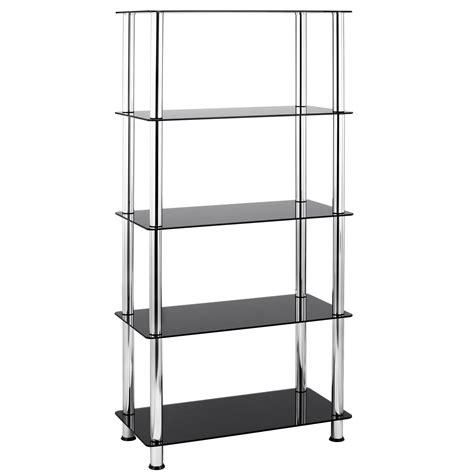 5 tier bookshelves vonhaus 5 tier black glass shelving unit bookcase with