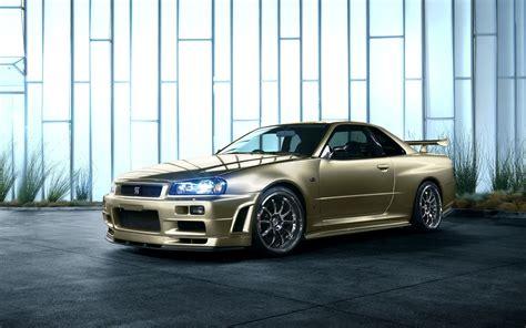 Car Wallpaper Golden by Nissan Skyline R34 Golden Car Wallpaper Cars Wallpaper