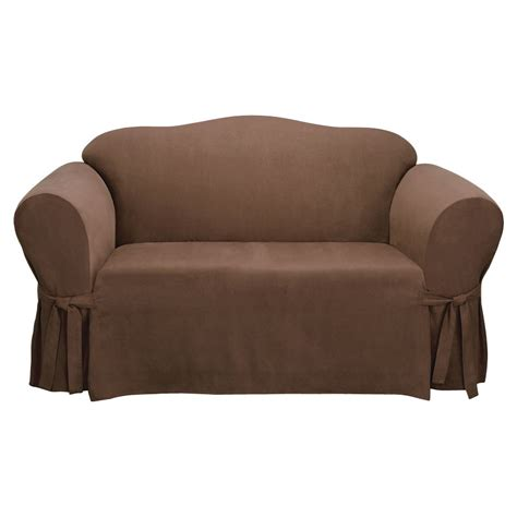 suede sofa slipcover shop soft suede chocolate microsuede sofa slipcover at