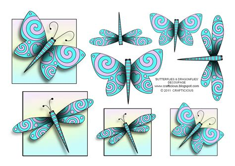 free printable decoupage crafticious butterflies dragonflies free decoupage sheet