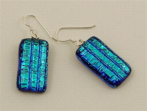 how to make dichroic glass jewelry fused blue dichroic earrings masters glass