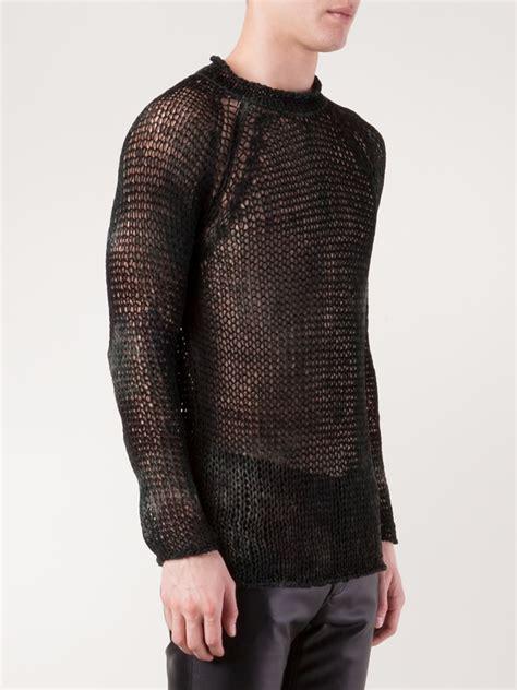 open knit sweater avant toi open knit sweater in black for lyst