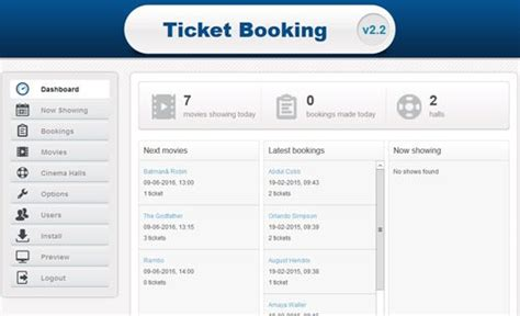 ticket booking ticket booking script ticket reservation system