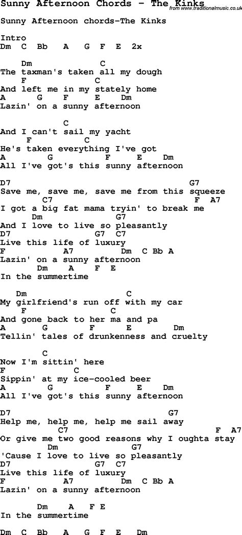 picture book the kinks lyrics song afternoon chords by the kinks song lyric for