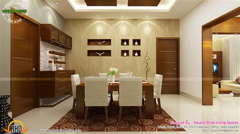 interior designed rooms contemporary kitchen dining and living room kerala home