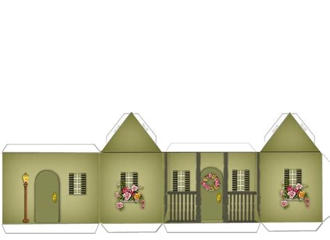 Paper Crafts Home Models Green And Brick House W