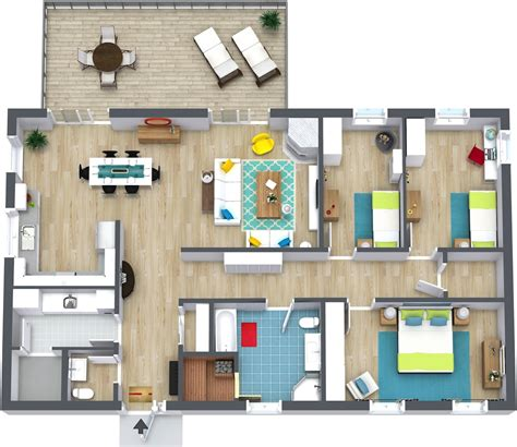 bedroom plans 3 bedroom floor plans roomsketcher