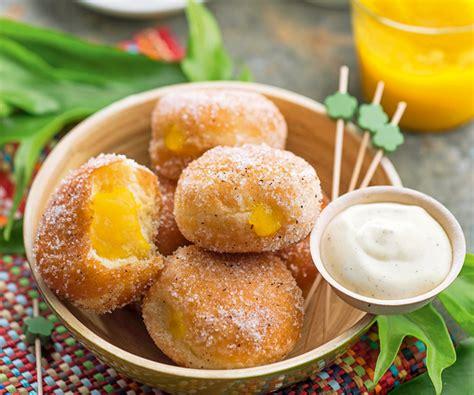 gourmet recipe mango and papaya beignets with coconut