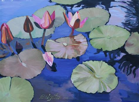 acrylic painting water lilies water lilies original acrylic painting my flower