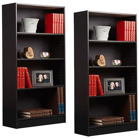 walmart bookshelves 4 shelf bookcases set of 2 walmart