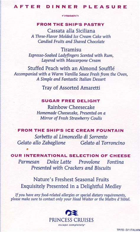 cruiseclues princess cruises princess dinner menus cruise food dining