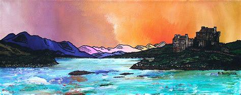 spray painting scotland eilean donan castle winter dusk west highlands scotland