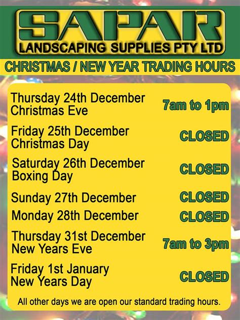 trading hours trading hours 2015 sapar landscaping supplies