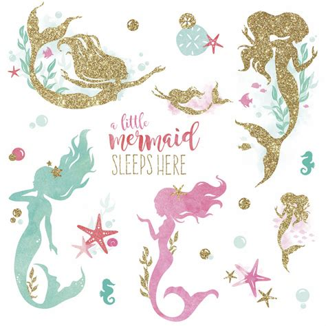 mermaid wall sticker mermaid sleeps here glittery wall decals room