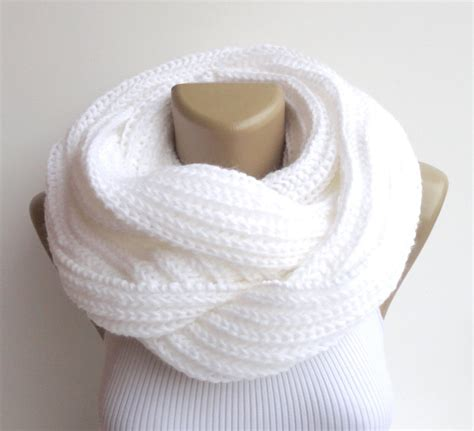 White Infinity Scarf Knit Scarf Scarves Unisex