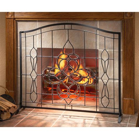 fireplace screen with glass doors cut beveled glass fireplace screen 138643