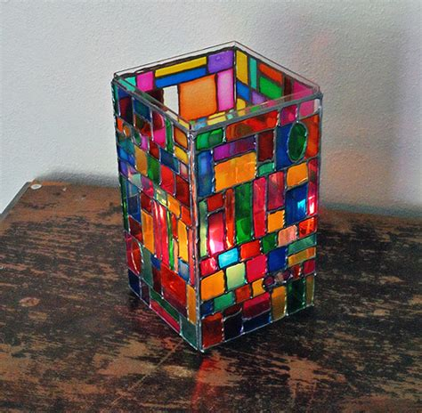 glass for craft projects how to make faux stained glass mosaic luminary diy