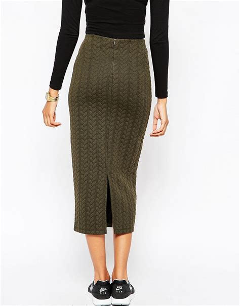 cable knit skirt asos asos pencil skirt in cable knit texture at asos