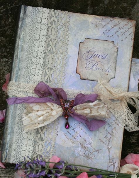 picture guest book wedding lavender wedding guest book vintage style custom made