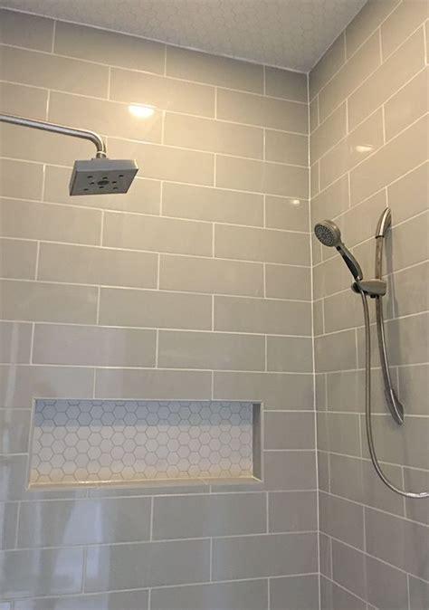 tile bathroom showers linear light gray shower wall tile with hexagon mosaic