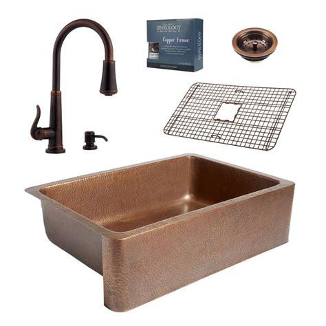 kitchen sink kit sinkology pfister all in one 33 in copper farmhouse