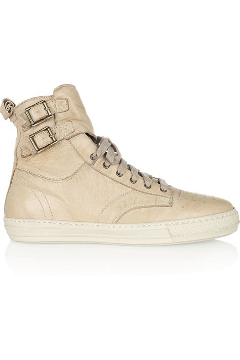 leather high top shoes for burberry beige leather high top sneakers sneaker cabinet
