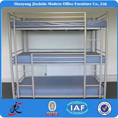3 bedded bunk beds bedroom furniture hotel school dormitory three level iron