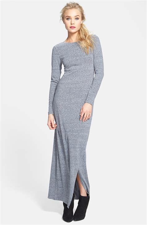 knit maxi dress leith sleeve knit maxi dress in gray cloudy lyst