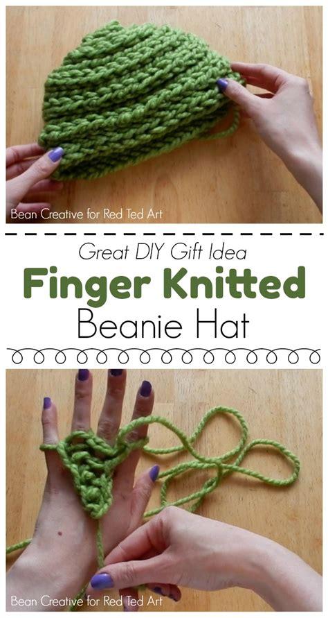 how to finger knit a hat how to finger knit a beanie hat diy ted s