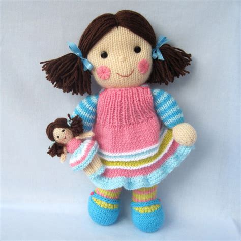 knit doll maisie and doll dolly knitting pattern by