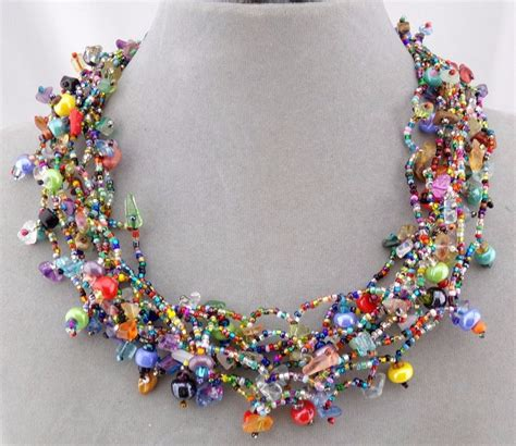 glass bead necklaces chunky multi color glass bead necklace magnetic