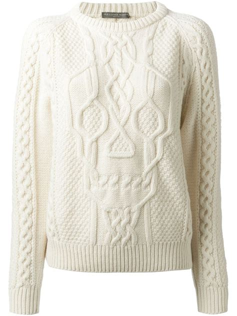 white knit mcqueen skull cable knit sweater in white lyst