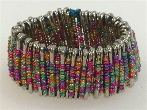 how to make safety pin jewelry a beaded safety pin bracelet thriftyfun
