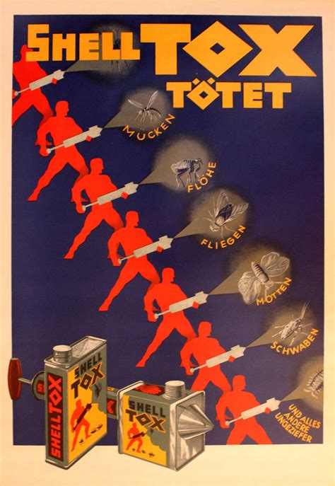 original vintage 1920s deco advertising poster for shell tox insecticide for sale at 1stdibs