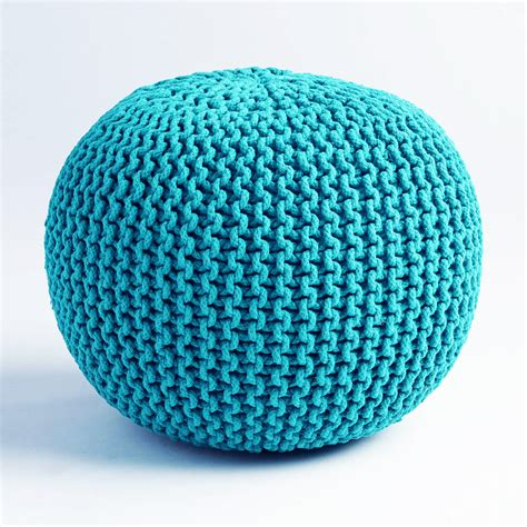 turquoise knitted pouf cable knit pouf teal from dot bo