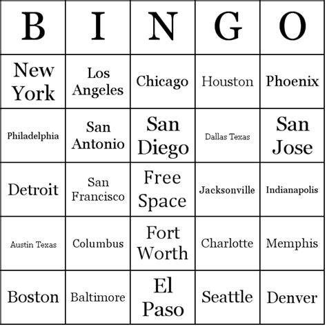make a bingo card free list of u s cities by population bingo cards
