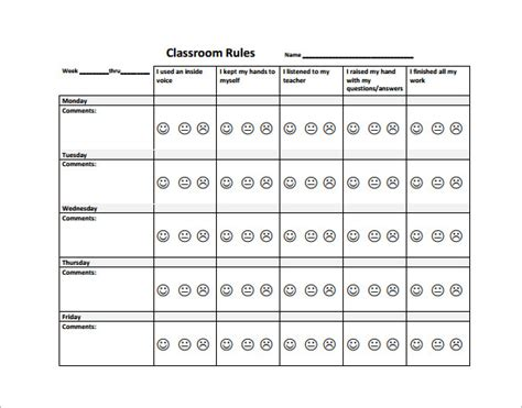 Exle Of Behavior Modification Chart by Behavior Chart Template Behavior Chart Template 11 Free